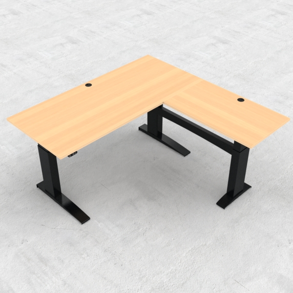 Electric Adjustable Desk | 180x180 cm | Beech with black frame