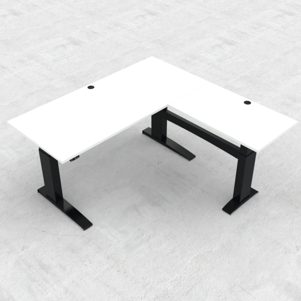 Electric Adjustable Desk | 180x180 cm | White with black frame