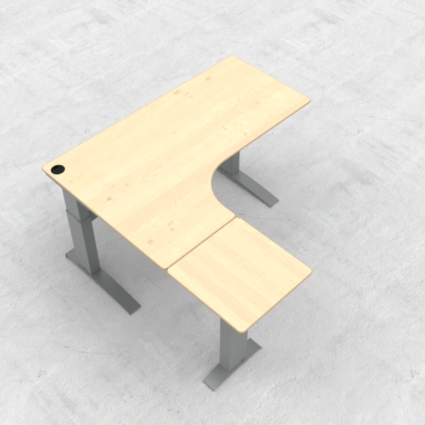 Electric Adjustable Desk | 180x180 cm | Maple with silver frame