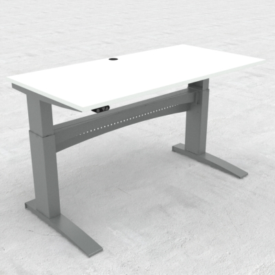 Electric Adjustable Desk | 160x80 cm | White with silver frame