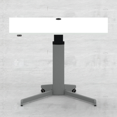 Electric Adjustable Desk | 120x60 cm | White with silver frame