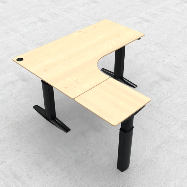Electric Adjustable Desk | 180x180 cm | Maple with black frame