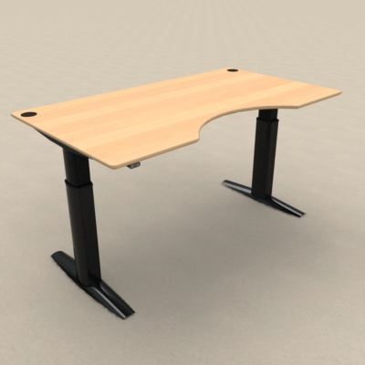Electric Adjustable Desk | 180x100 cm | Beech with black frame