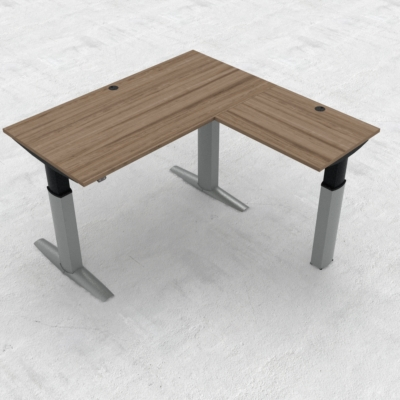 Electric Adjustable Desk | 160x160 cm | Walnut with silver frame