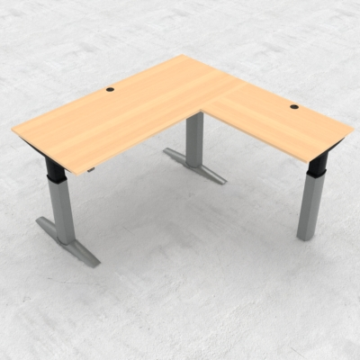 Electric Adjustable Desk | 180x180 cm | Beech with silver frame