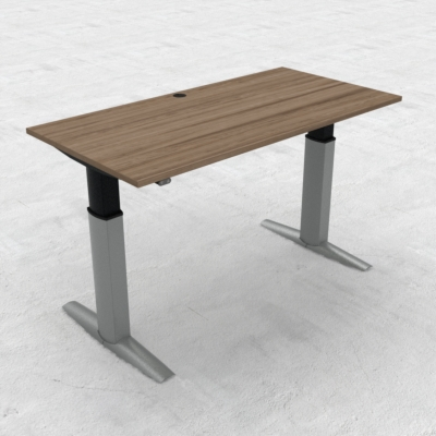 Electric Adjustable Desk | 160x80 cm | Walnut with silver frame
