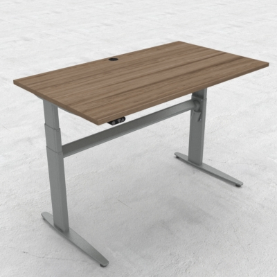 Electric Adjustable Desk | 140x80 cm | Walnut with silver frame
