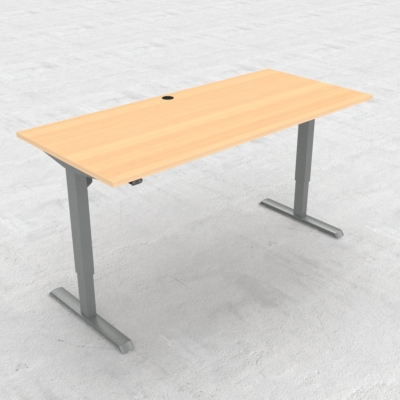 Electric Adjustable Desk | 180x80 cm | Beech with silver frame