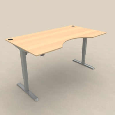Electric Adjustable Desk | 180x100 cm | Beech with silver frame