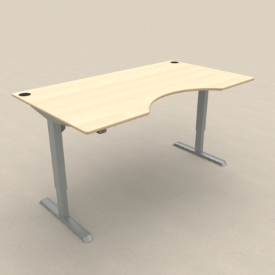 Electric Adjustable Desk | 180x100 cm | Maple with silver frame
