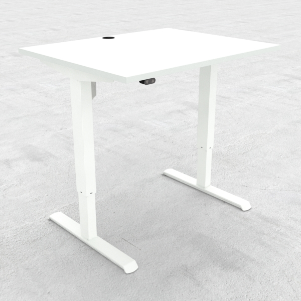 Electric Adjustable Desk | 100x80 cm | White with white frame