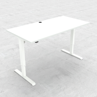Electric Adjustable Desk | 160x80 cm | White with white frame