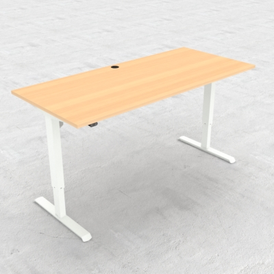 Electric Adjustable Desk | 180x80 cm | Beech with white frame