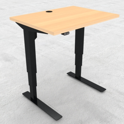 Electric Adjustable Desk | 80x60 cm | Beech with black frame