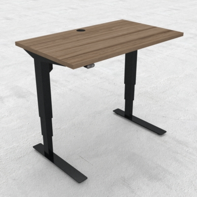 Electric Adjustable Desk | 100x60 cm | Walnut with black frame