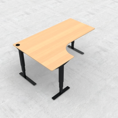 Electric Adjustable Desk | 180x120 cm | Beech with black frame
