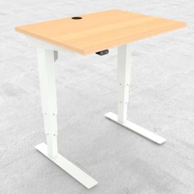 Electric Adjustable Desk | 80x60 cm | Beech with white frame