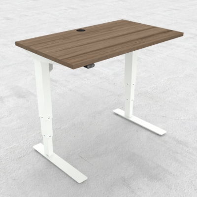 Electric Adjustable Desk | 100x60 cm | Walnut with white frame