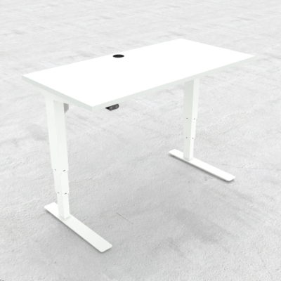 Electric Adjustable Desk | 120x60 cm | White with white frame