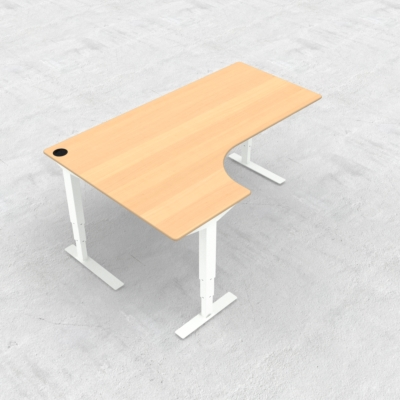 Electric Adjustable Desk | 180x120 cm | Beech with white frame