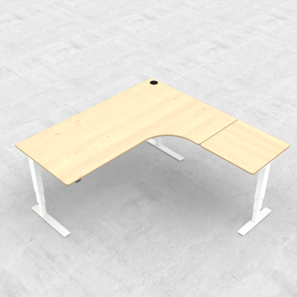 Electric Adjustable Desk | 180x180 cm | Maple with white frame
