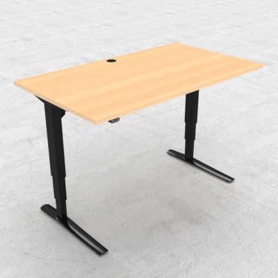 Electric Adjustable Desk | 140x80 cm | Beech with black frame