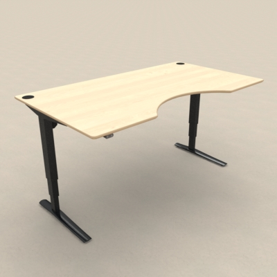 Electric Adjustable Desk | 180x100 cm | Maple with black frame