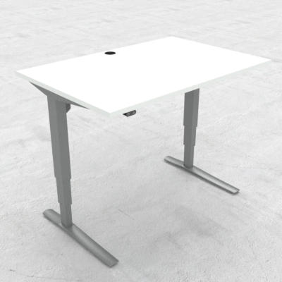 Electric Adjustable Desk | 120x80 cm | White with silver frame