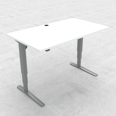 Electric Adjustable Desk | 140x80 cm | White with silver frame