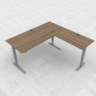 Electric Adjustable Desk | 180x180 cm | Walnut with silver frame