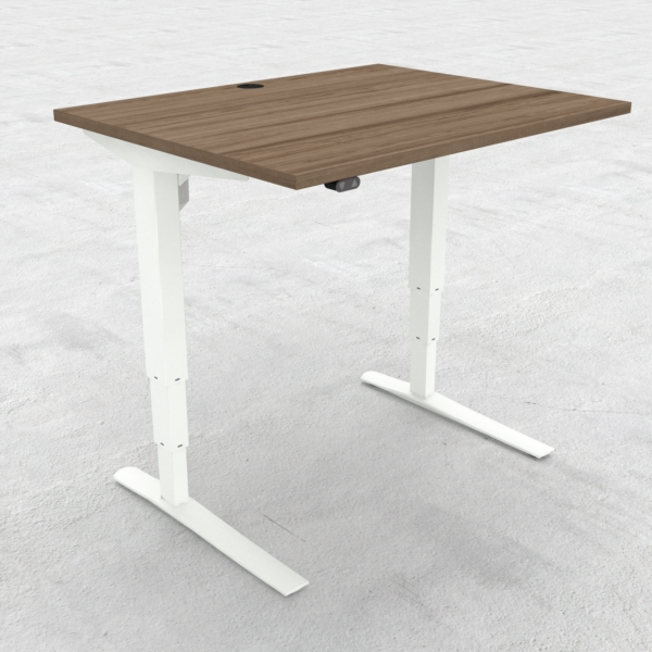 Electric Adjustable Desk | 100x80 cm | Walnut with white frame