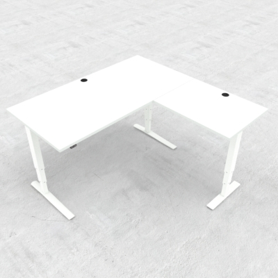 Electric Adjustable Desk | 160x160 cm | White with white frame