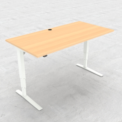 Electric Adjustable Desk | 160x80 cm | Beech with white frame