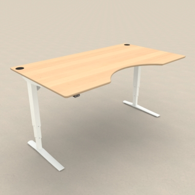 Electric Adjustable Desk | 180x100 cm | Beech with white frame