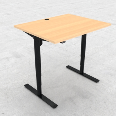 Electric Adjustable Desk | 100x80 cm | Beech with black frame