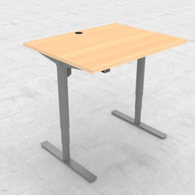 Electric Adjustable Desk | 100x80 cm | Beech with silver frame