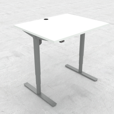 Electric Adjustable Desk | 100x80 cm | White with silver frame
