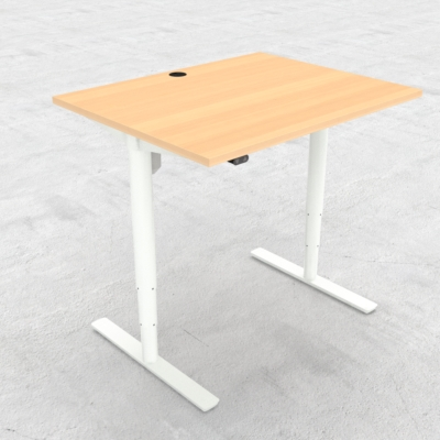 Electric Adjustable Desk | 100x80 cm | Beech with white frame