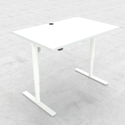 Electric Adjustable Desk | 120x80 cm | White with white frame