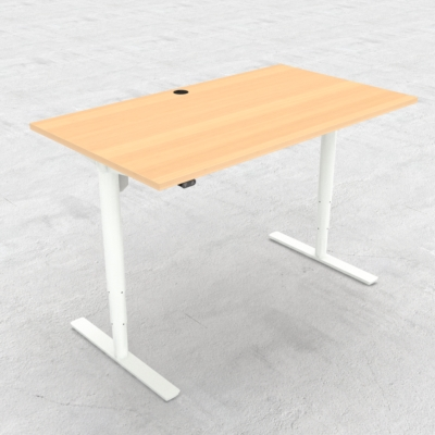 Electric Adjustable Desk | 140x80 cm | Beech with white frame