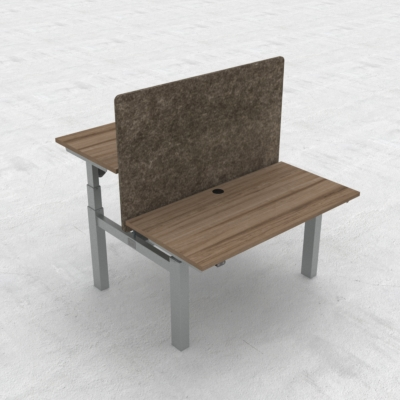 Electric Adjustable Desk | 120x60 cm | Walnut with silver frame